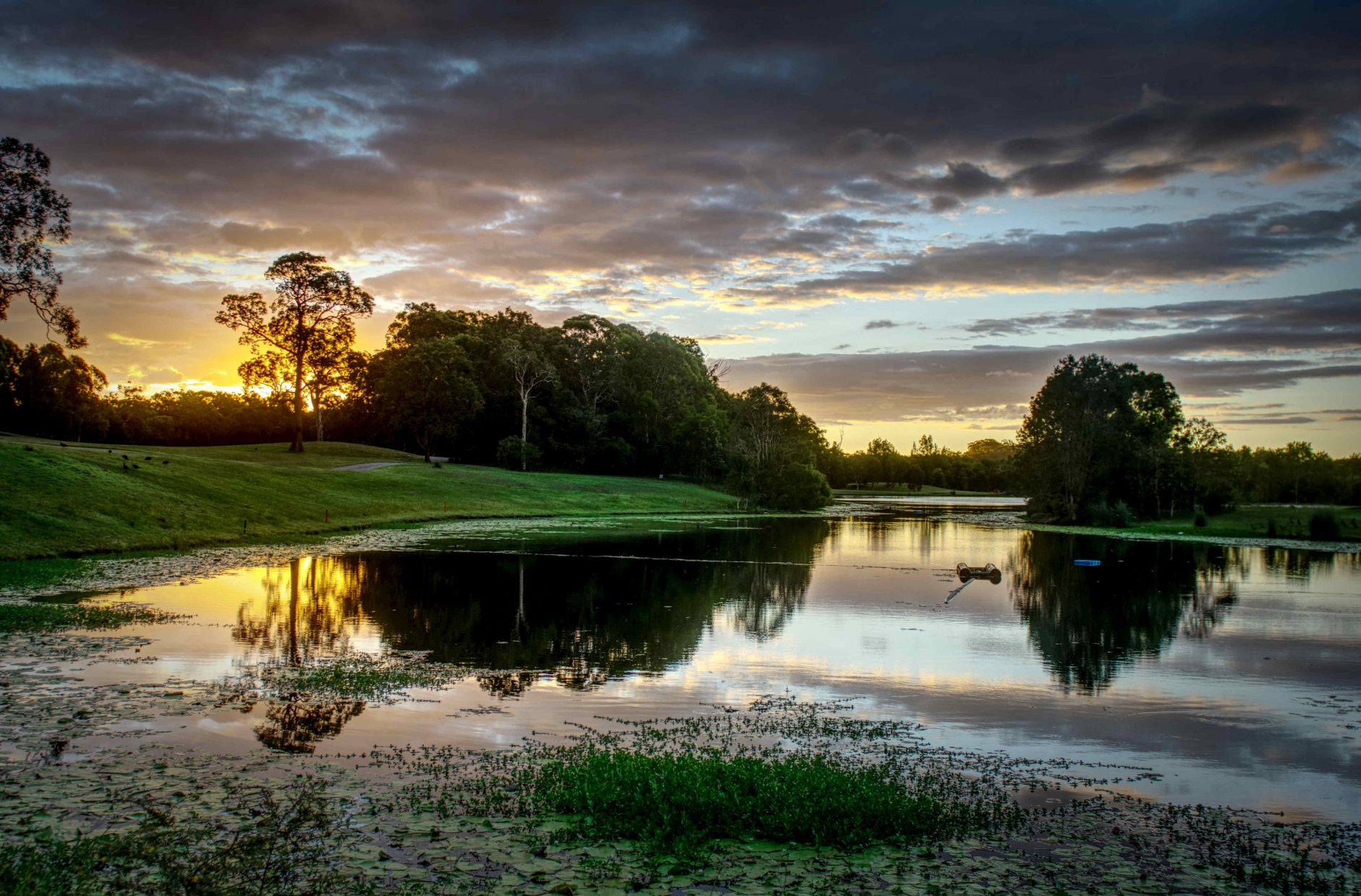 Sunset over 11th green